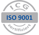 ISO 9001 Logo mit externen Link zu Zertifizierer ICG Zertifizierung GmbH www.gzbb.de